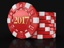 Chip of casino 2017. Image with clipping path Stock Photos