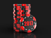 Chip of casino 2017. Image with clipping path Stock Photo