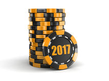 Chip of casino 2017. Image with clipping path Stock Photography