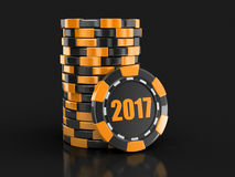 Chip of casino 2017. Image with clipping path Royalty Free Stock Photo