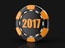 Chip of casino 2017. Image with clipping path Royalty Free Stock Photography