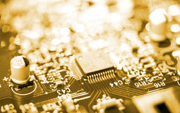 Chip on circuit board Royalty Free Stock Photos