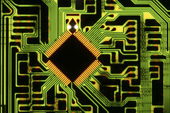 Chip on circuit board. Complexity: Chip on circuit board Royalty Free Stock Photography