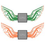 Chip Circuit Wings. Isolated stylized circuit wings spreading out from processor or chip, two variations vector illustration