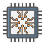 Chip colorful line icon, circuit board and cpu Royalty Free Stock Photography