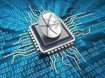 Chip con l'antenna illustrazione di stock