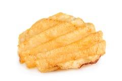 Chip costolati della patata su bianco Fotografie Stock Libere da Diritti