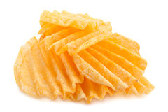 Chip costolati della patata su bianco Immagini Stock Libere da Diritti