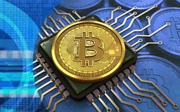chip de computador do bitcoin 3d Imagem de Stock Royalty Free