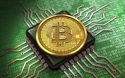 chip de computador do bitcoin 3d ilustração royalty free