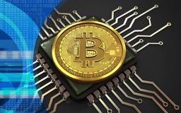 chip de computador do bitcoin 3d ilustração do vetor