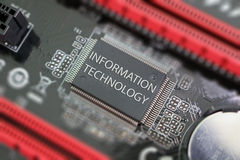 Chip de computador em uma placa de circuito Fotografia de Stock Royalty Free