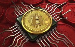 chip de ordenador del bitcoin 3d stock de ilustración