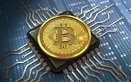 chip de ordenador del bitcoin 3d Foto de archivo libre de regalías