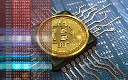 chip de ordenador del bitcoin 3d Imágenes de archivo libres de regalías