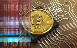 chip de ordenador del bitcoin 3d Fotografía de archivo libre de regalías