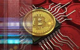 chip de ordenador del bitcoin 3d Fotos de archivo