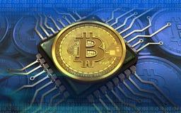 chip de ordenador del bitcoin 3d Fotos de archivo libres de regalías
