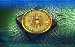 chip de ordenador del bitcoin 3d Foto de archivo