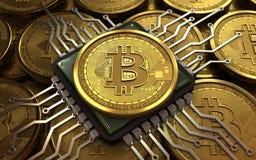 chip de ordenador del bitcoin 3d Fotografía de archivo
