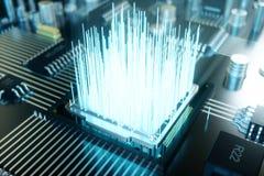 chip de ordenador del ejemplo 3D, un procesador en una placa de circuito impresa El concepto de transferencia de datos a la nube libre illustration