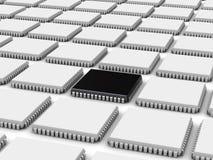 Chip de ordenador (fondo 3d) stock de ilustración