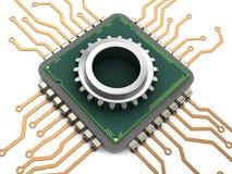 Chip de ordenador y engranaje Imagenes de archivo