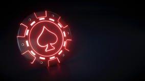 Chip del casinò con il simbolo al neon d'ardore delle vanghe e delle luci rosse isolato sui precedenti neri - illustrazione 3D illustrazione di stock