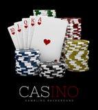 Chip del casinò e carta del poker, concetto del casinò, illustrazione 3d degli elementi dei giochi del casinò Illustrazione di Stock