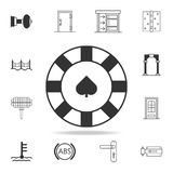 Chip in der Kasinoikone Ausführlicher Satz Netzikonen und -zeichen Erstklassiges Grafikdesign Eine der Sammlungsikonen für Websit stock abbildung