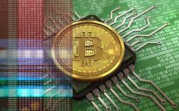 chip di computer del bitcoin 3d Illustrazione di Stock