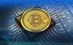chip di computer del bitcoin 3d Fotografie Stock Libere da Diritti
