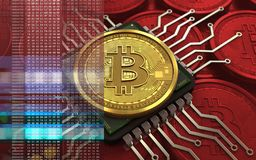 chip di computer del bitcoin 3d Illustrazione Vettoriale