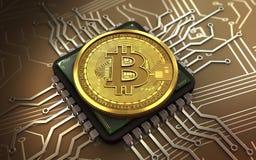 chip di computer del bitcoin 3d Immagini Stock