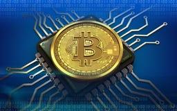 chip di computer del bitcoin 3d Fotografia Stock Libera da Diritti