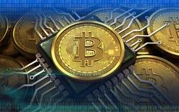 chip di computer del bitcoin 3d Fotografia Stock