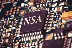 Chip di computer del NSA Fotografia Stock Libera da Diritti