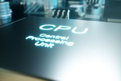 chip di computer dell'illustrazione 3D, un'unità di elaborazione su un circuito stampato Il concetto di trasferimento di dati all Fotografia Stock