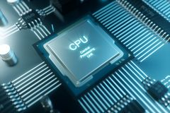 chip di computer dell'illustrazione 3D, un'unità di elaborazione su un circuito stampato Il concetto di trasferimento di dati all Fotografie Stock