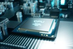 chip di computer dell'illustrazione 3D, un'unità di elaborazione su un circuito stampato Il concetto di trasferimento di dati all Immagine Stock