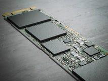 Chip di computer moderno rappresentazione 3d Fotografia Stock Libera da Diritti