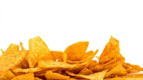 Chip di tortiglia dorati del peperoncino rosso Fotografia Stock