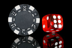 Chip and dice stock photo