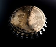 Chip dorato della moneta di Bitcoin Immagini Stock