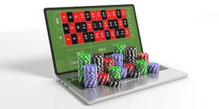 Chip e computer portatile del casinò su fondo bianco illustrazione 3D Fotografia Stock Libera da Diritti