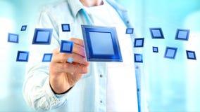 Chip e connessione di rete di unità di elaborazione - 3d rendono Fotografia Stock Libera da Diritti
