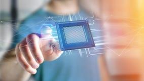 Chip e connessione di rete di unità di elaborazione - 3d rendono Fotografia Stock