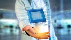 Chip e connessione di rete di unità di elaborazione - 3d rendono Immagini Stock Libere da Diritti