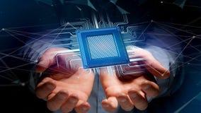 Chip e connessione di rete di unità di elaborazione - 3d rendono Fotografie Stock Libere da Diritti