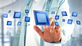Chip e connessione di rete di unità di elaborazione - 3d rendono Immagine Stock